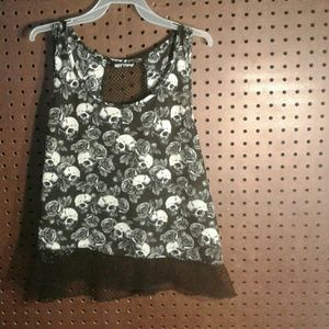2 for $20 Sexy Mesh Skulls & Roses Tank Top Size L